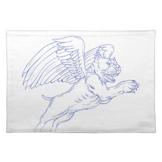 American Bully With Wings Drawing Placemat