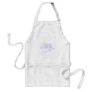 American Bully With Wings Drawing Standard Apron