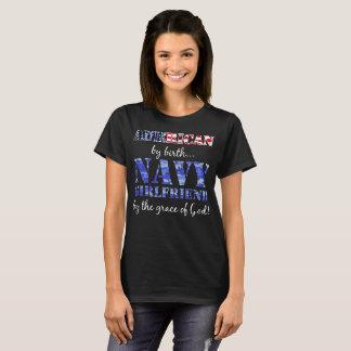 American by Birth Navy Girlfriend Grace of God T-Shirt