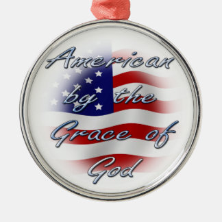 American by the Grace of God Silver-Colored Round Decoration