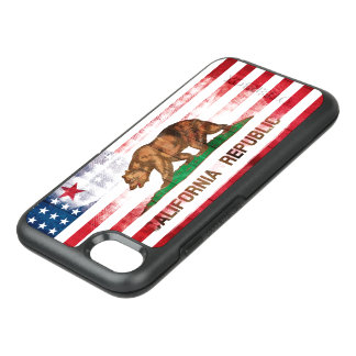 American Californian Flag | Wood & Brush Strokes OtterBox Symmetry iPhone 8/7 Case