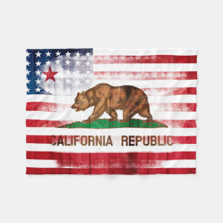 American Californian Flag | Wood & Paintstrokes Fleece Blanket