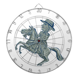 American Cavalry Officer Riding Horse Prancing Car Dartboard