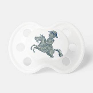 American Cavalry Officer Riding Horse Prancing Car Dummy