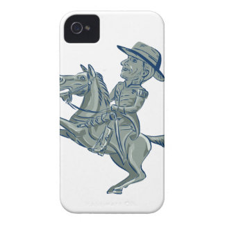 American Cavalry Officer Riding Horse Prancing Car iPhone 4 Cover