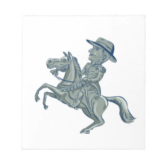 American Cavalry Officer Riding Horse Prancing Car Notepad