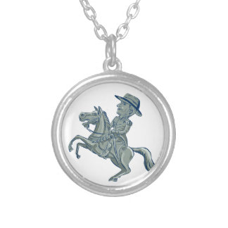 American Cavalry Officer Riding Horse Prancing Car Silver Plated Necklace