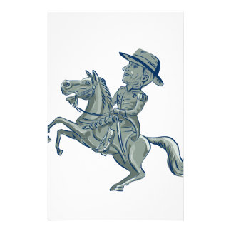 American Cavalry Officer Riding Horse Prancing Car Stationery