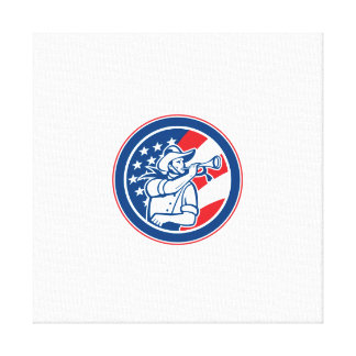 American Cavalry Soldier Blowing Bugle Circle Canvas Prints