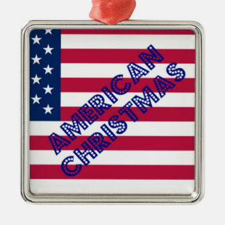 American Christmas Flag Silver-Colored Square Decoration