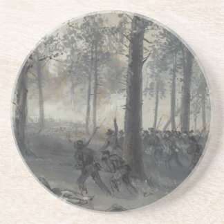 American Civil War Battle of Chickamauga by Waud Sandstone Coaster