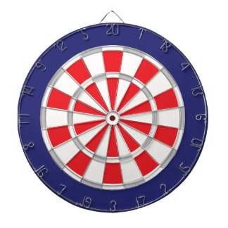 American Classic White, Silver, Red, And Navy Blue Dartboard With Darts