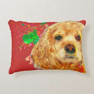 American cocker spaniel and watercolor decorative cushion