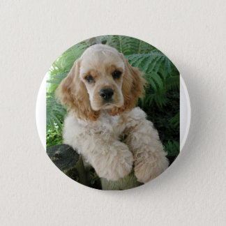 American Cocker Spaniel Dog And The Green Fern 6 Cm Round Badge