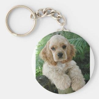 American Cocker Spaniel Dog And The Green Fern Key Ring