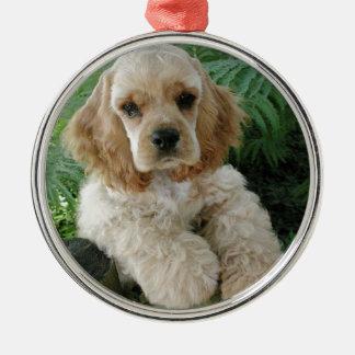 American Cocker Spaniel Dog And The Green Fern Metal Ornament