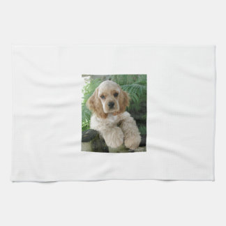 American Cocker Spaniel Dog And The Green Fern Tea Towel