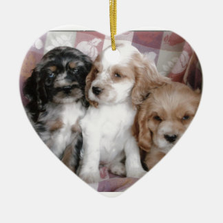 American Cocker Spaniel Puppies Ceramic Ornament