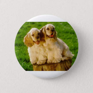 American Cocker Spaniel Puppies On A Stump 6 Cm Round Badge