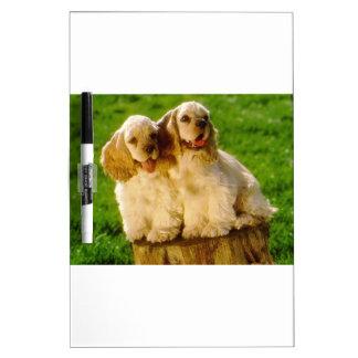 American Cocker Spaniel Puppies On A Stump Dry Erase Board