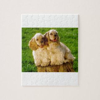 American Cocker Spaniel Puppies On A Stump Jigsaw Puzzle