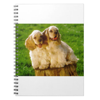 American Cocker Spaniel Puppies On A Stump Notebook