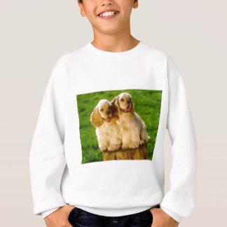 American Cocker Spaniel Puppies On A Stump Sweatshirt