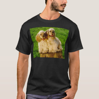 American Cocker Spaniel Puppies On A Stump T-Shirt