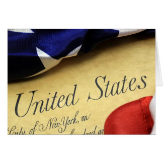 American Constitution and US Flag Greeting Card