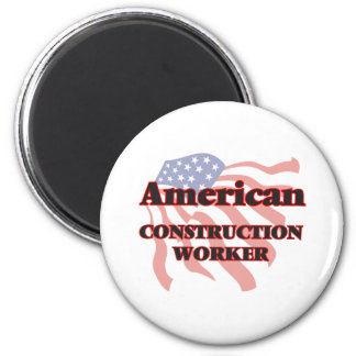 American Construction Worker 6 Cm Round Magnet