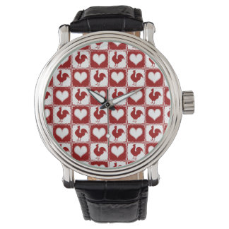 American Country Farm Chicken Gingham Wrist Watches