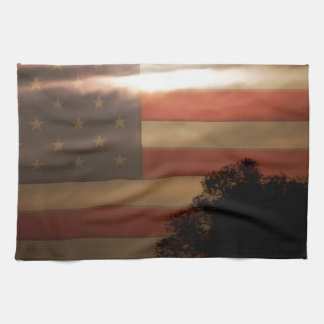 American Country Supermoon Tea Towel