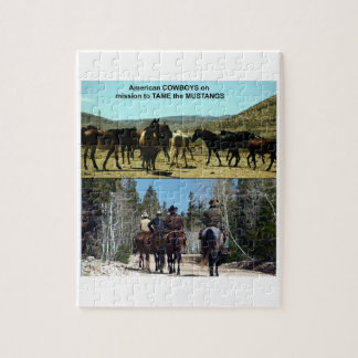 American Cowboys on trip to TAME Mustang Horses Jigsaw Puzzle