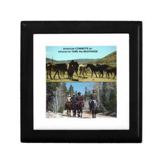 American Cowboys on trip to TAME Mustang Horses Small Square Gift Box