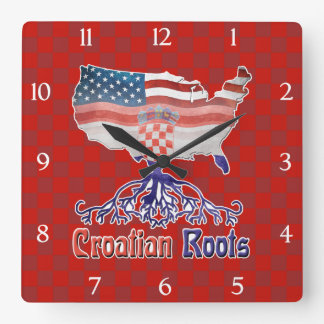 American Croatian Roots Square Clock