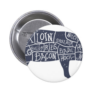 American cuts of pork, vintage typographic 6 cm round badge