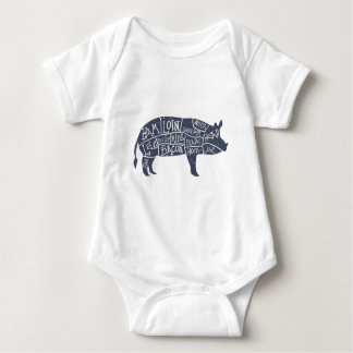 American cuts of pork, vintage typographic baby bodysuit