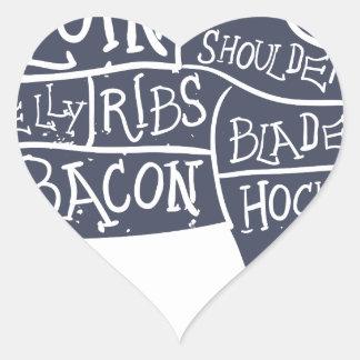 American cuts of pork, vintage typographic heart sticker