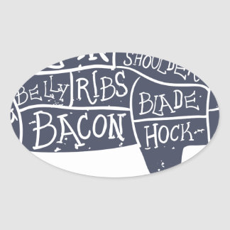 American cuts of pork, vintage typographic oval sticker