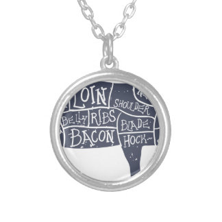 American cuts of pork, vintage typographic silver plated necklace