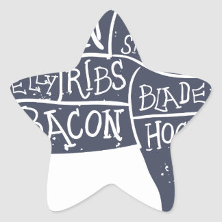 American cuts of pork, vintage typographic star sticker