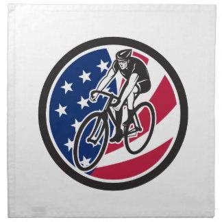 American Cyclist Cycling USA Flag Icon Napkin