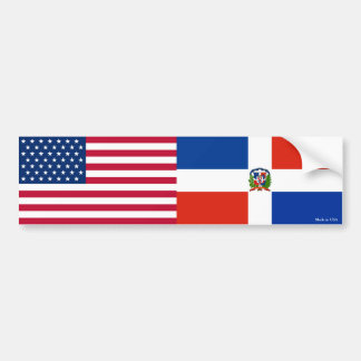 American & Dominican Republic Flags Bumper Sticker