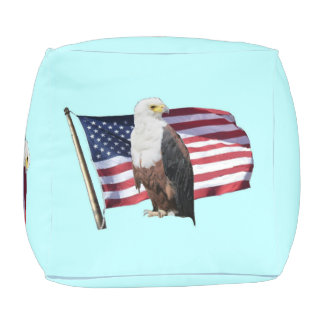American Eagle And American Flag Cube Pouffe