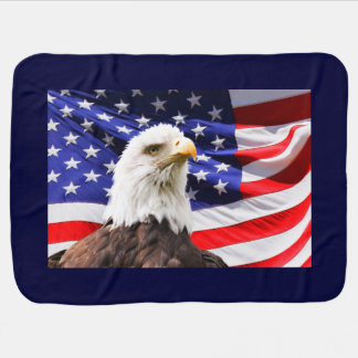 American Eagle and Flag Baby Blanket