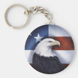 American Eagle and Flag Basic Round Button Key Ring