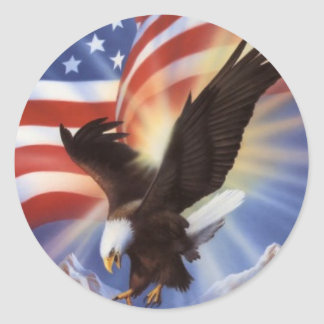 american-eagle-and-flag-ii round sticker