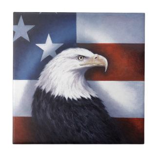 American Eagle and Flag Small Square Tile