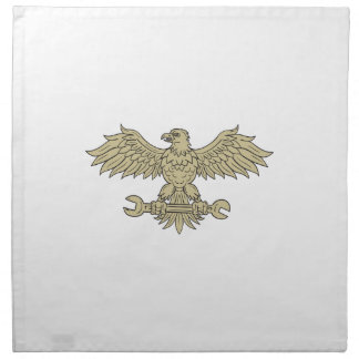 American Eagle Clutching Spanner Drawing Napkin