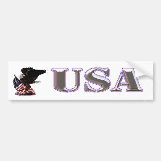 American Eagle Silver USA Red White Blue Trim Bumper Sticker